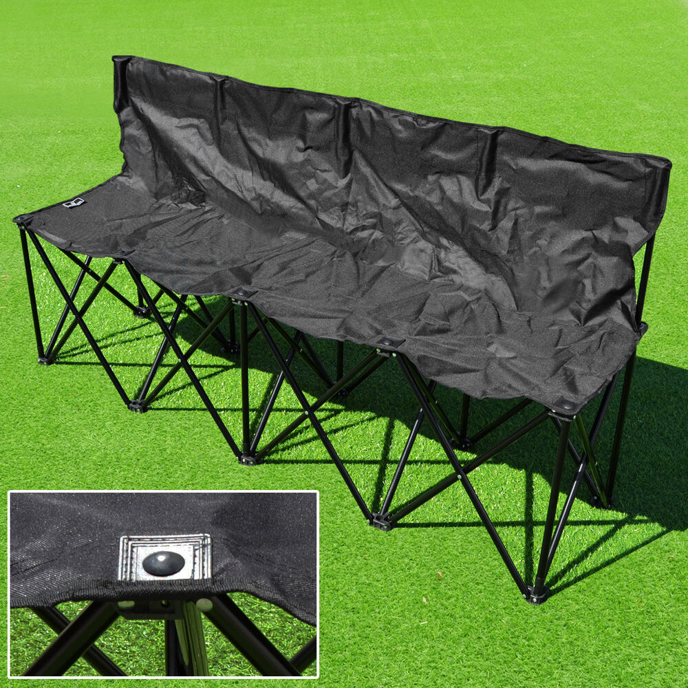 Folding Portable Team Sports Sideline Bench 4 Seater Outdoor Waterprove Carrybag Ebay