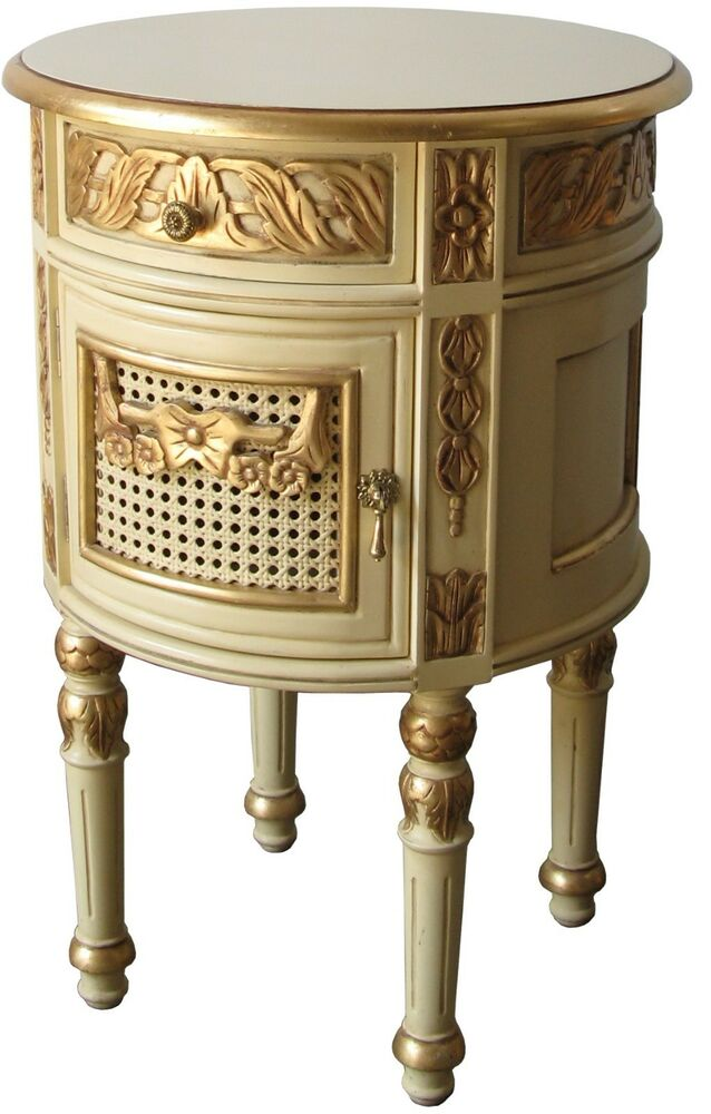 Cream Bedside Tables: French Round Bedside Cream & Gold Shabby Chic Solid