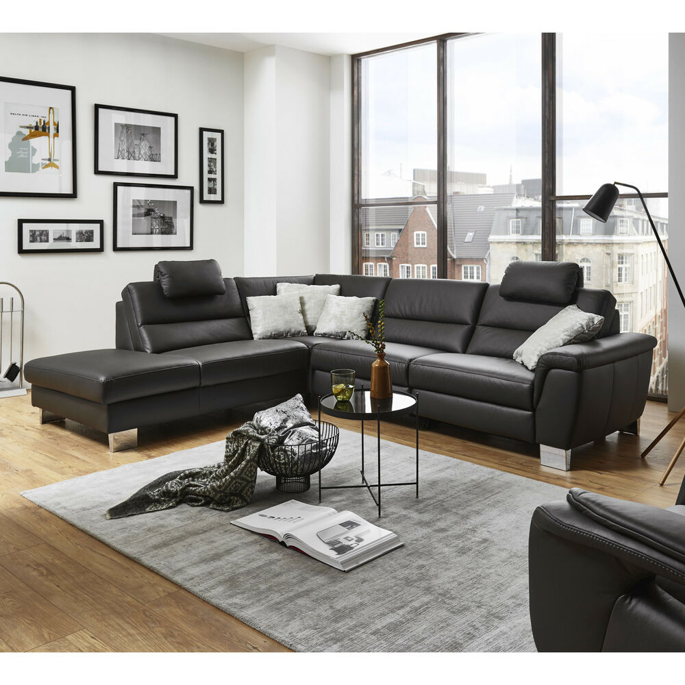 ecksofa sarina wohnlandschaft bezug leder schwarz f e metall mit nosagfederung 4059236071793 ebay. Black Bedroom Furniture Sets. Home Design Ideas