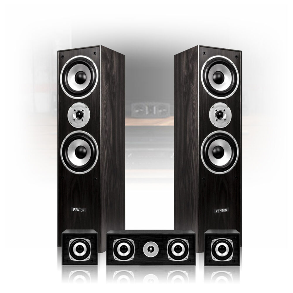 5.0 Surround Sound Speakers Black Finish Home Cinema Hi-Fi T
