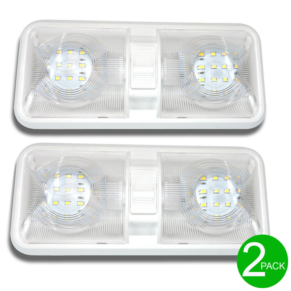 2x new rv led 12v ceiling fixture double dome light for camper trailer rv marine ebay. Black Bedroom Furniture Sets. Home Design Ideas