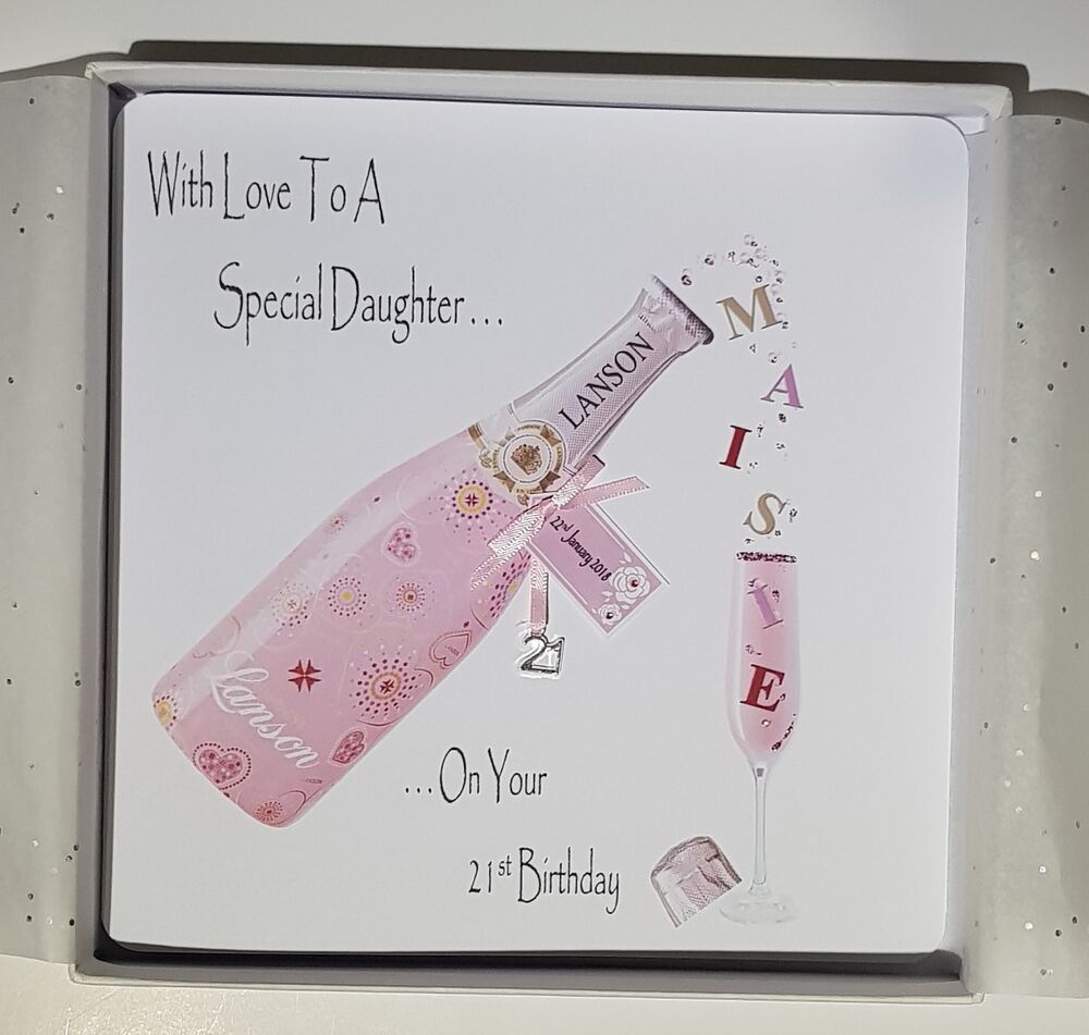 Personalised 21st Birthday Card Daughter Pink Champagne 16th 18th