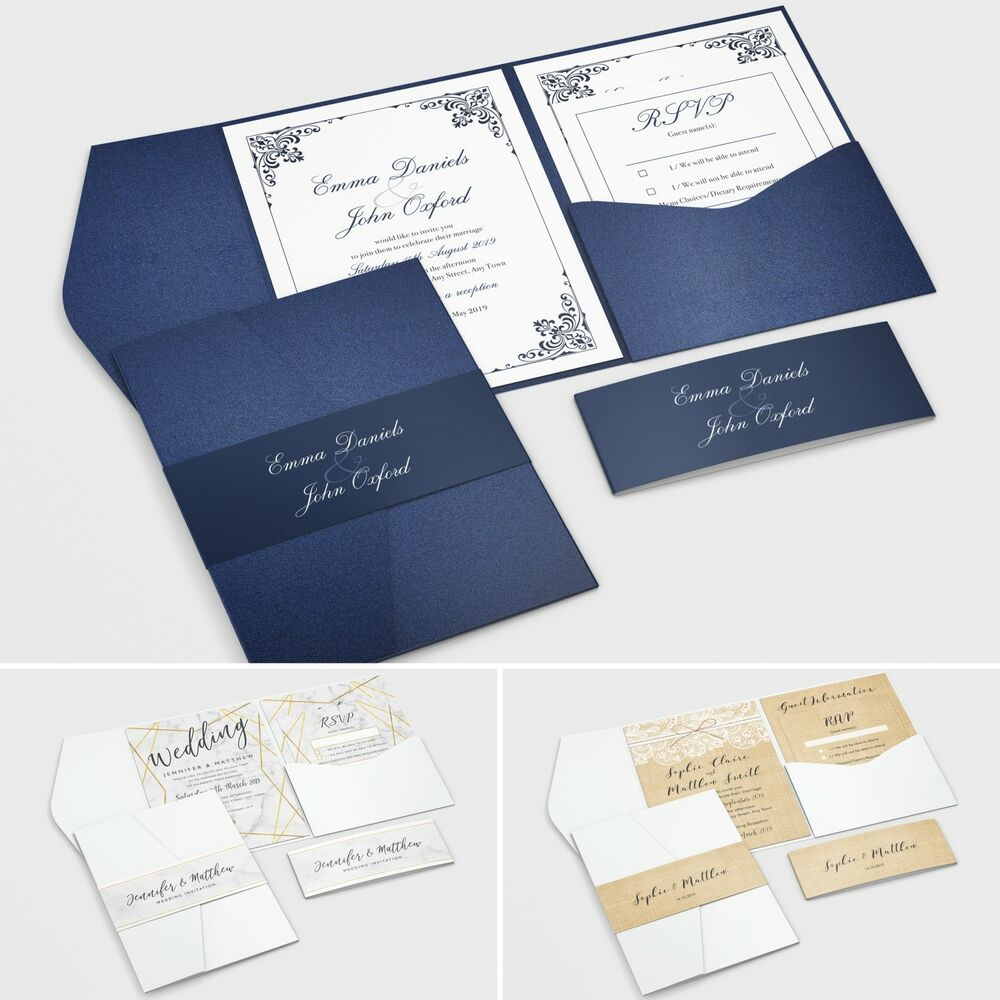 Pocketfold wedding invitations with rsvp and info cards ebay for Ebay navy wedding invitations
