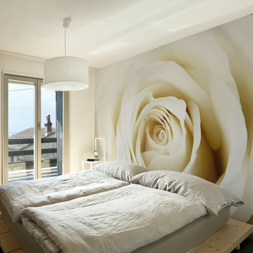 vlies fototapete blumen rosa rose cremig natur wand tapete wandbild xxl 3 farben ebay. Black Bedroom Furniture Sets. Home Design Ideas