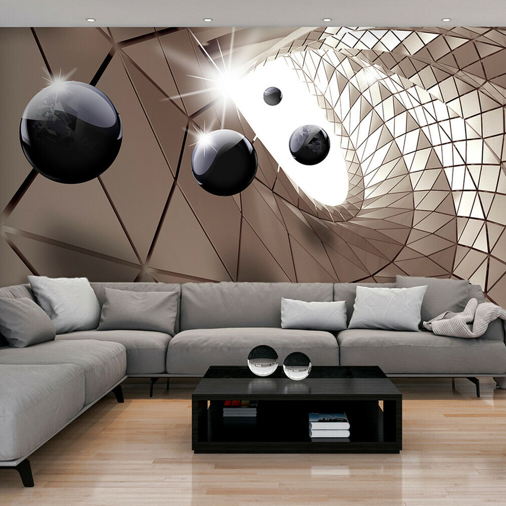 vlies fototapete 3d kugeln optik tunnel braun silber stahl tapete wandbild 3farb ebay. Black Bedroom Furniture Sets. Home Design Ideas