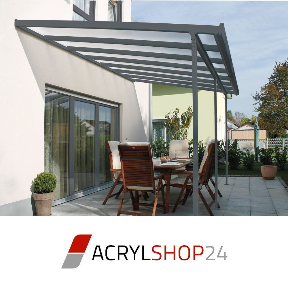 terrassen berdachung terrassendach carport wei o anthrazit 6 gr en module ebay. Black Bedroom Furniture Sets. Home Design Ideas