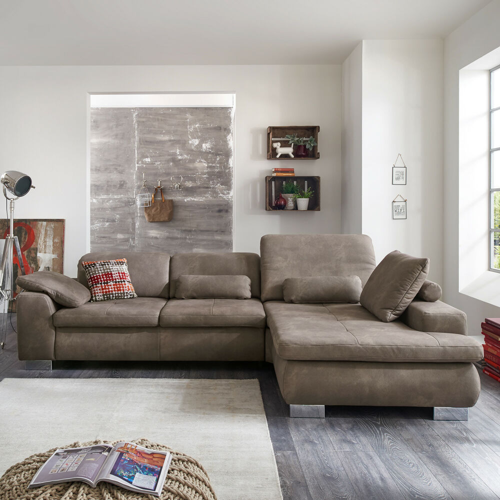 ecksofa buster eckgarnitur stoff braun grau und metall mit kopfteilverstellung ebay. Black Bedroom Furniture Sets. Home Design Ideas