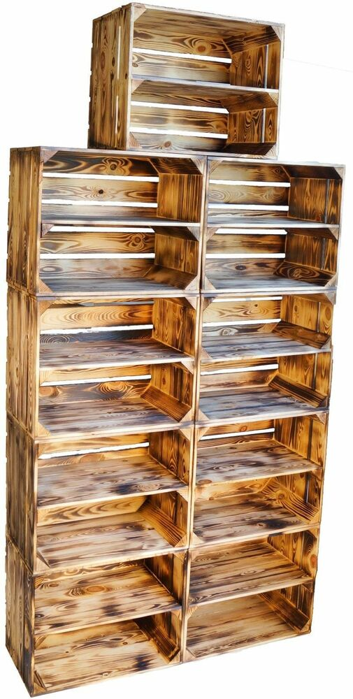 9 x massive geflammte holzkisten schuhregal ablageregal obstkisten weinkisten ebay. Black Bedroom Furniture Sets. Home Design Ideas