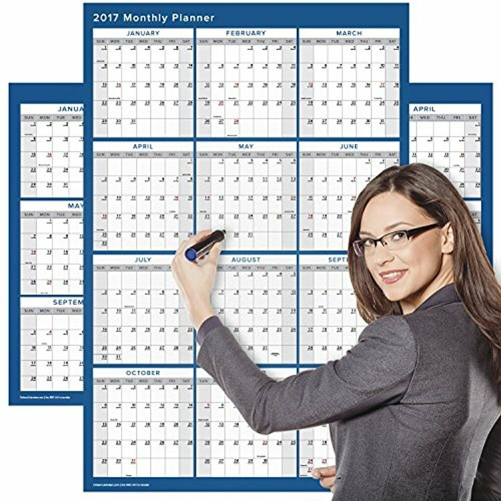 Large Calendar Planner : Large wet dry erase wall calendar yearly annual