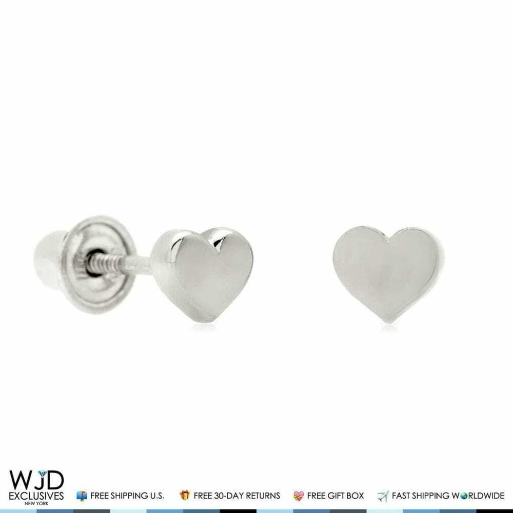 3f7476a76 Details about 14K Solid White Gold 4mm Small Heart Shape Screw Back Stud  Earrings