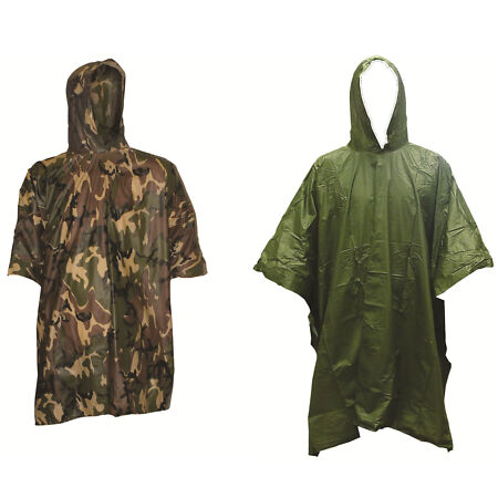 img-Lightweight Hooded Multi-Purpose Poncho DPM Camo & Olive Hunting Fishing Army