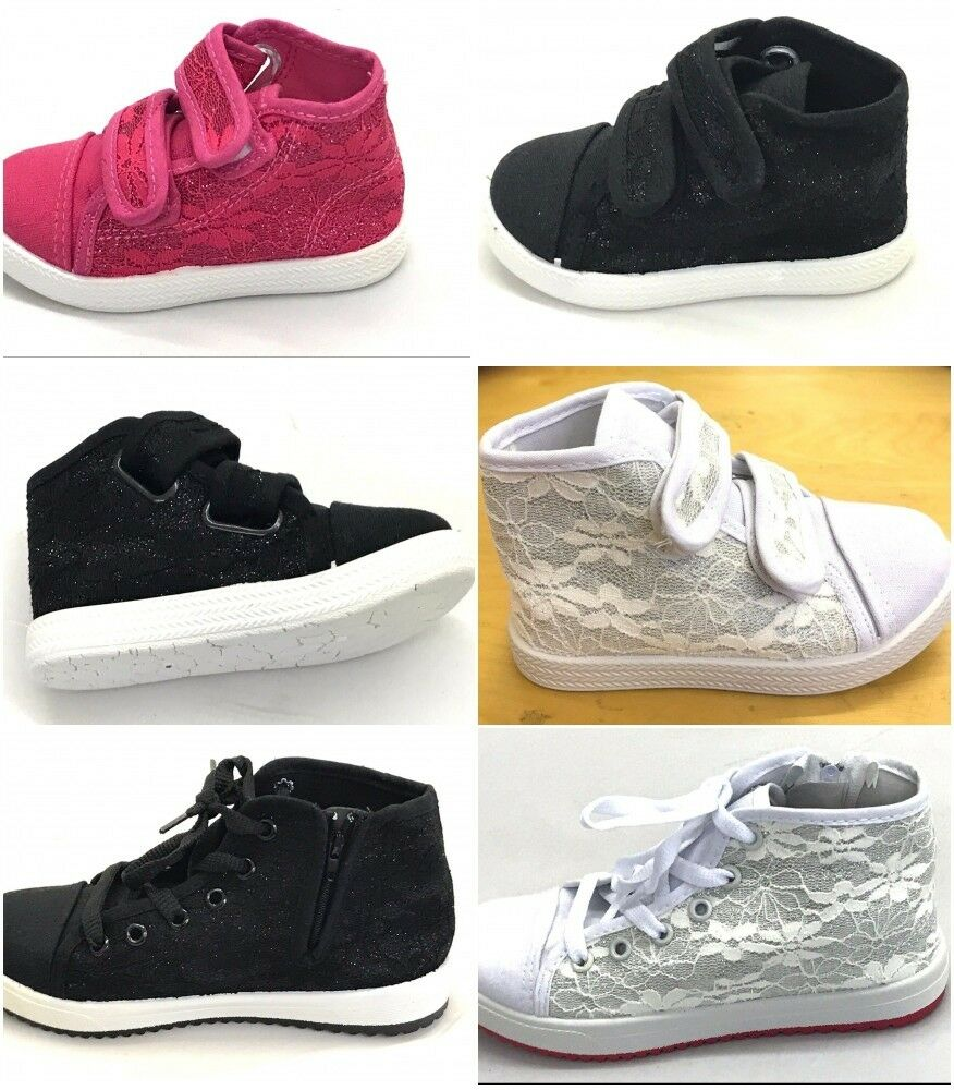 Girls canvas shoes high ankle trainers baby Infants