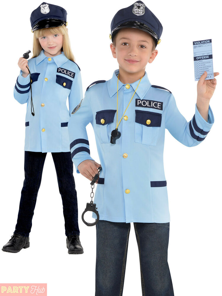 Child police costume boys girls pc cop fancy dress kids book week uniform outfit ebay - Police officer child costume ...