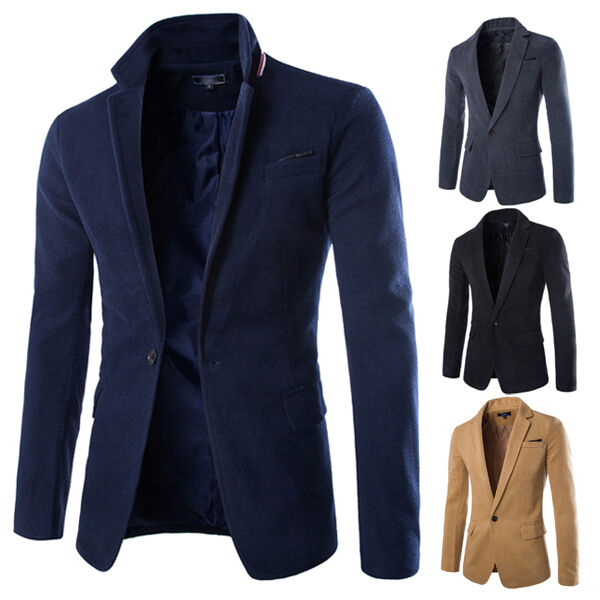 mens stylish luxury business casual smart blazer jacket coat 9203 ebay. Black Bedroom Furniture Sets. Home Design Ideas