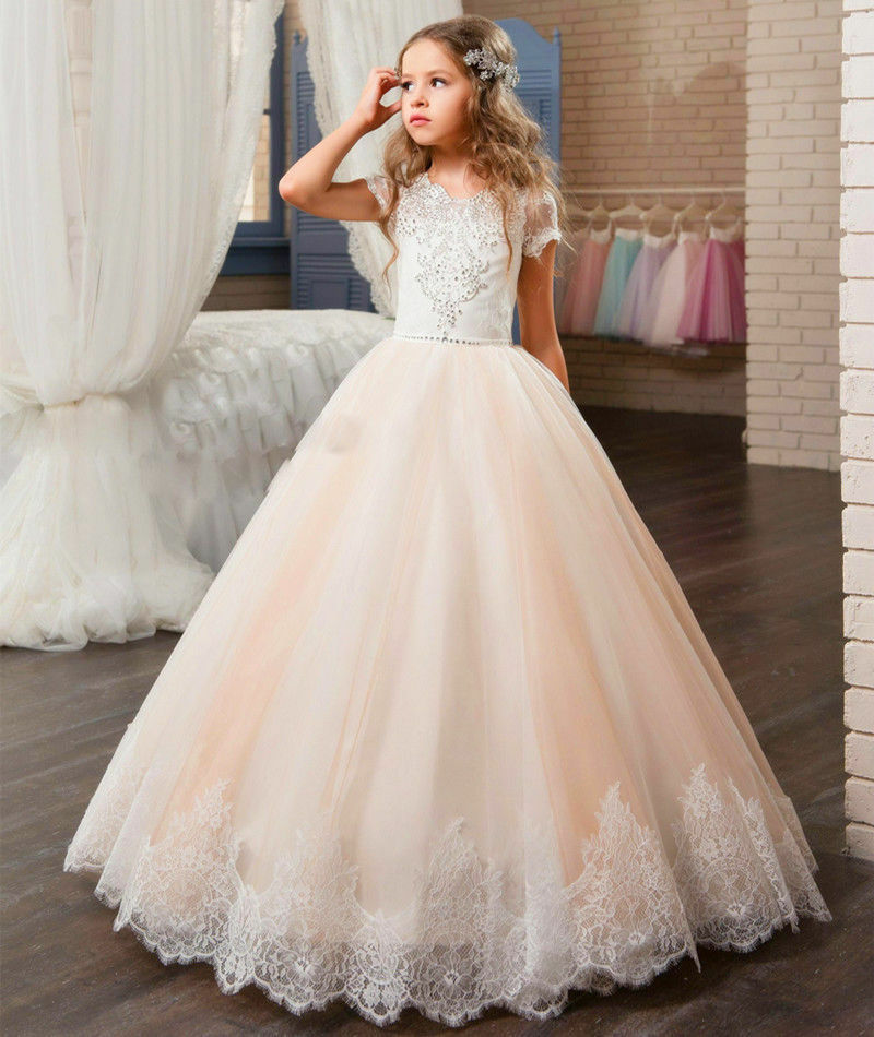New lace 2017 flower girl dresses kids birthday weddings for Flower girls wedding dresses