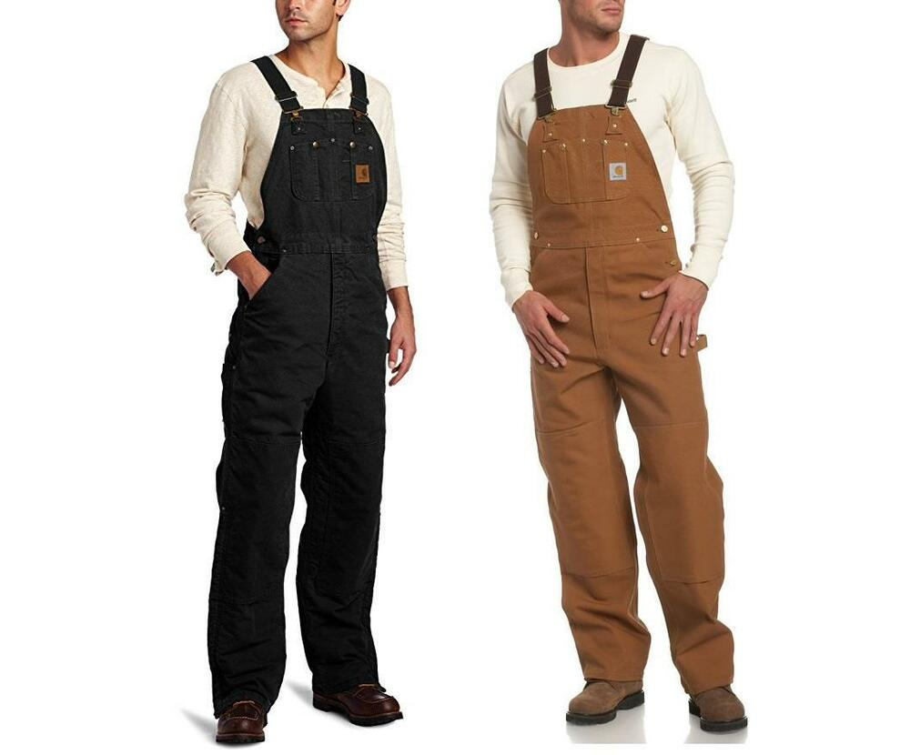 New Carhartt Quilt Lined Bib Overalls Sandstone Insulated