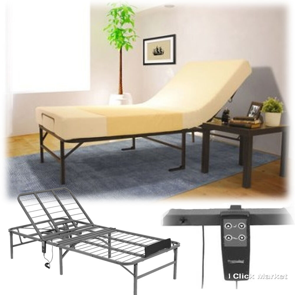 Twin Size Bed Frame Platform Electric Adjustable Head Lift Remote Control Base Ebay