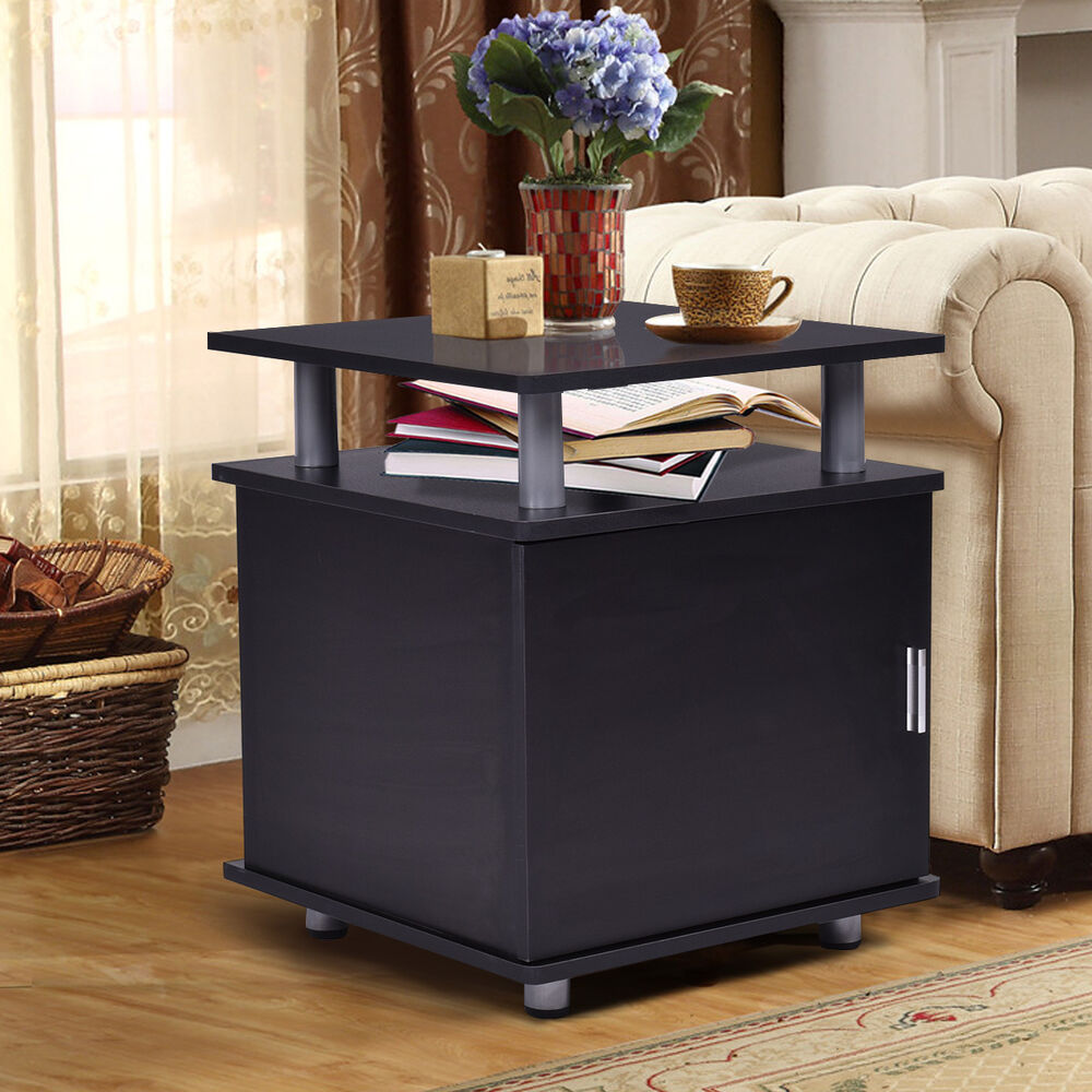 Storage End Tables For Living Room: End Table Nightstand Accent Storage Cabinet Couch Side