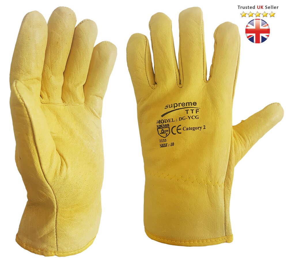 10 X Driver Work Gloves Fleece Cotton Lined Leather Lorry