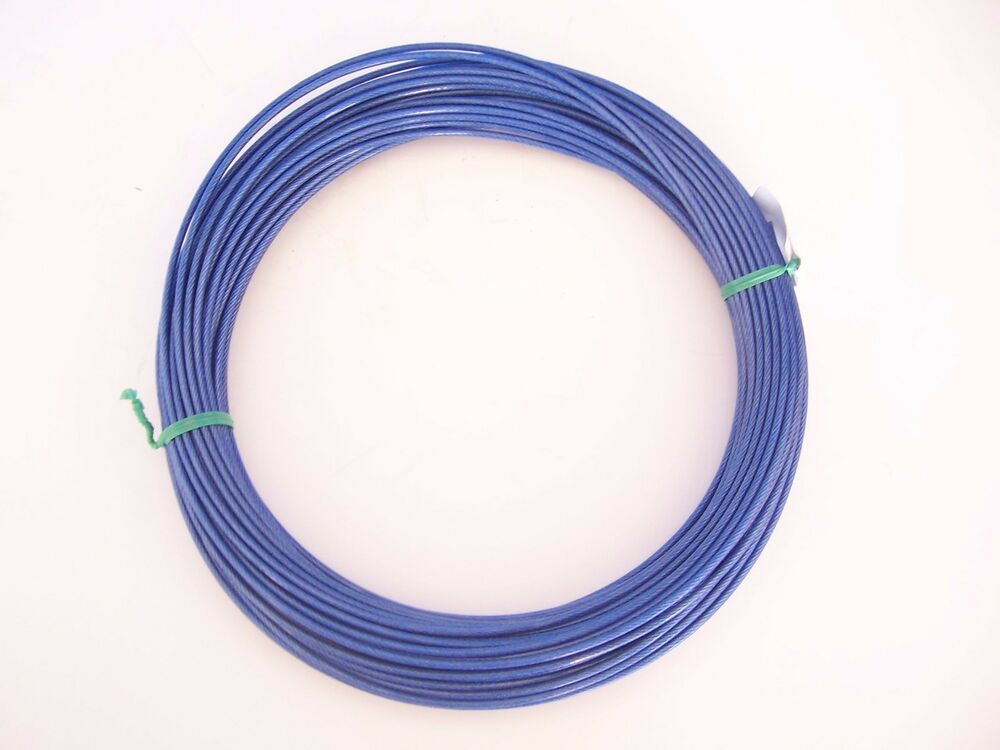 Vinyl Coated Wire | Blue Vinyl Coated Wire Rope Cable 1 16 3 32 7x7 50 Ft Coil Ebay