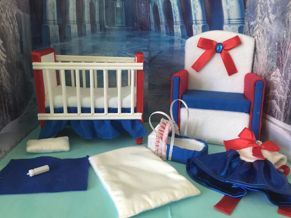 Barbie baby Nursery Set Furniture ,crib ,sofa ,carrier, dress ...