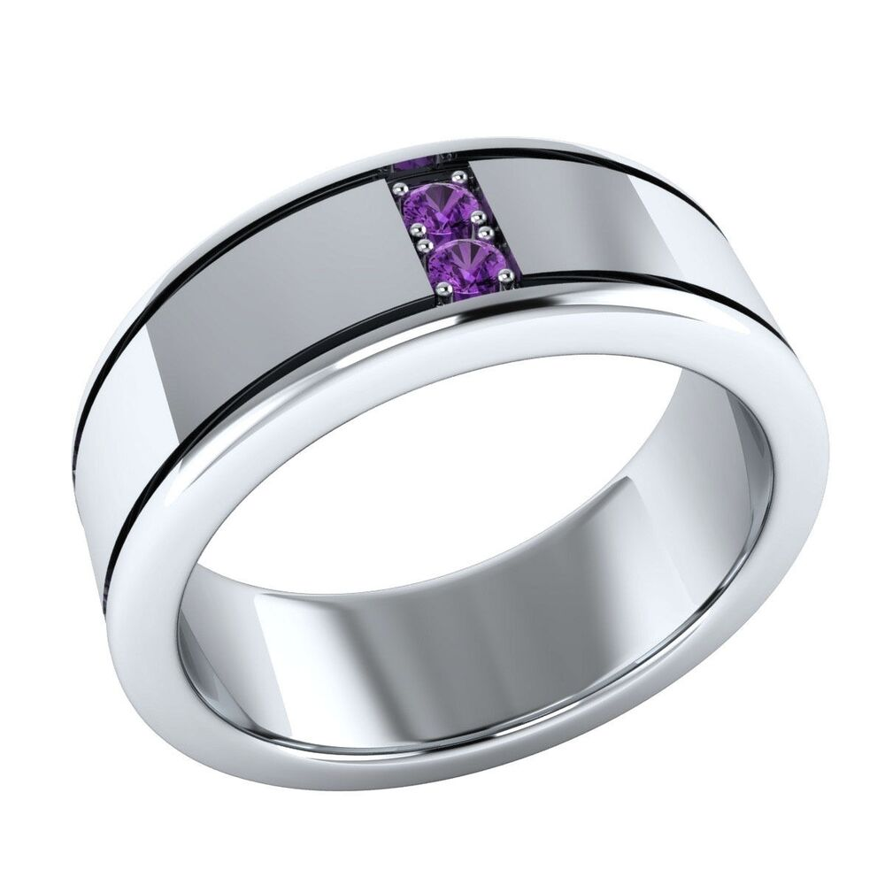 925 silver mens round amethyst gemstone wedding band ring for Silver band wedding rings