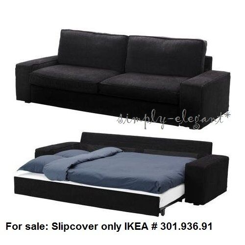 Ikea kivik sofa bed slipcover sofabed cover tranas black tran s corduroy new ebay Sleeper sofa covers