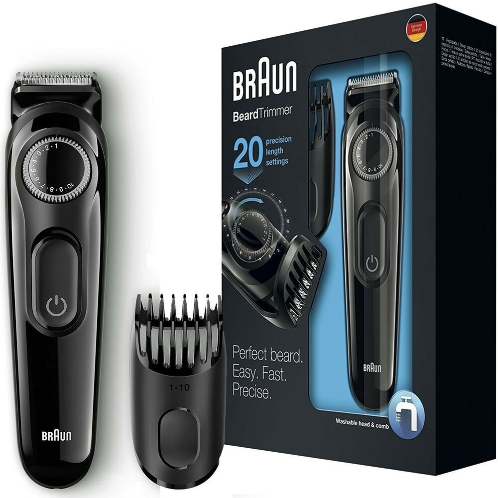 braun beard hair trimmer rechargeable cordless with adjustable length bt3020 ebay. Black Bedroom Furniture Sets. Home Design Ideas