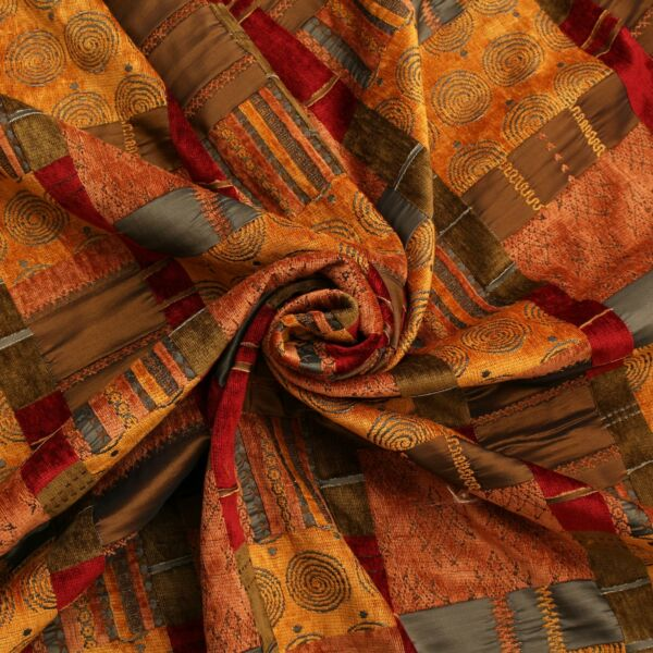 Ocre Brun Patchwork Tapisserie Double Couches Chenille Marocaine