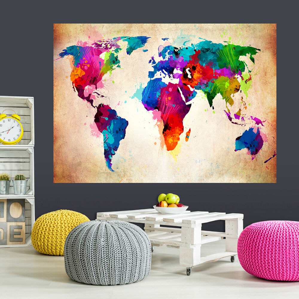 optische t uschung 3d weltkarte kontinent wandbild fototapete poster xxl toc0060 ebay. Black Bedroom Furniture Sets. Home Design Ideas