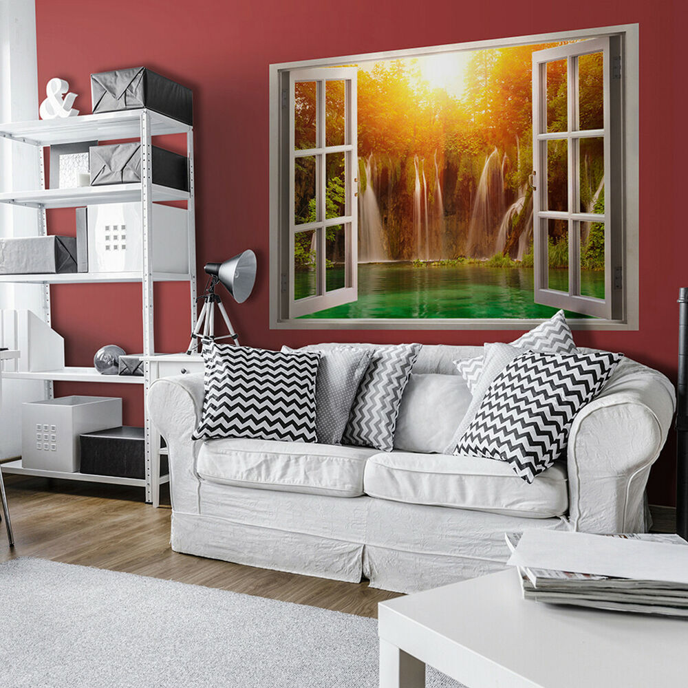 wandsticker 3d fensterblick wandbilder xxl wandillusion fototapete wald strand ebay. Black Bedroom Furniture Sets. Home Design Ideas