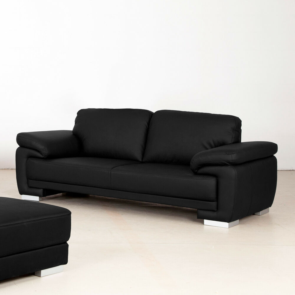 sofa nele 3 sitzer bezug schwarz f e massiv silber inkl nosagfederung 215 cm ebay. Black Bedroom Furniture Sets. Home Design Ideas