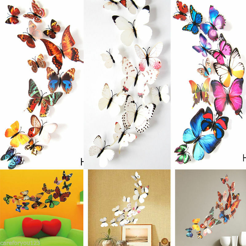 12pcs 3d butterfly design decal art wall stickers room decorations home decor bf ebay. Black Bedroom Furniture Sets. Home Design Ideas