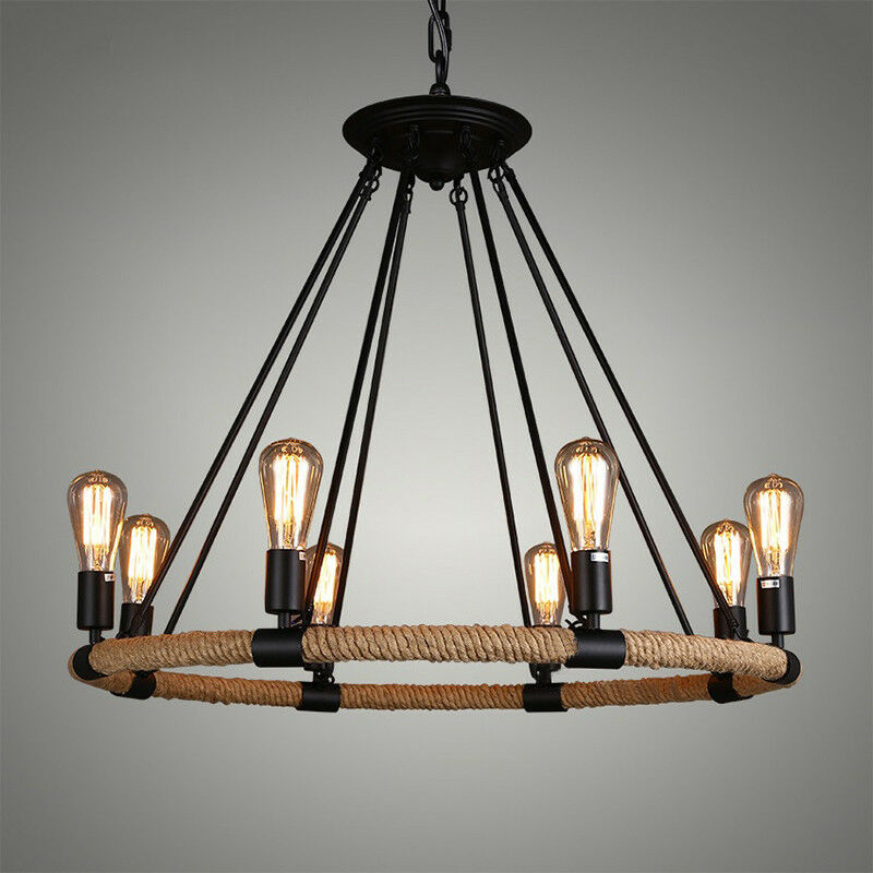 """Chandelier With Edison Bulbs: 33"""" Vintage Industrial Rope Round Chandelier Edison Bulb"""