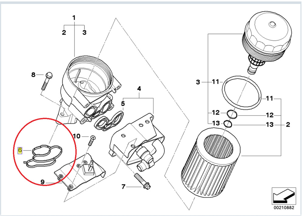 genuine bmw oil filter housing gasket 4 cylinder 1 3 5 x1