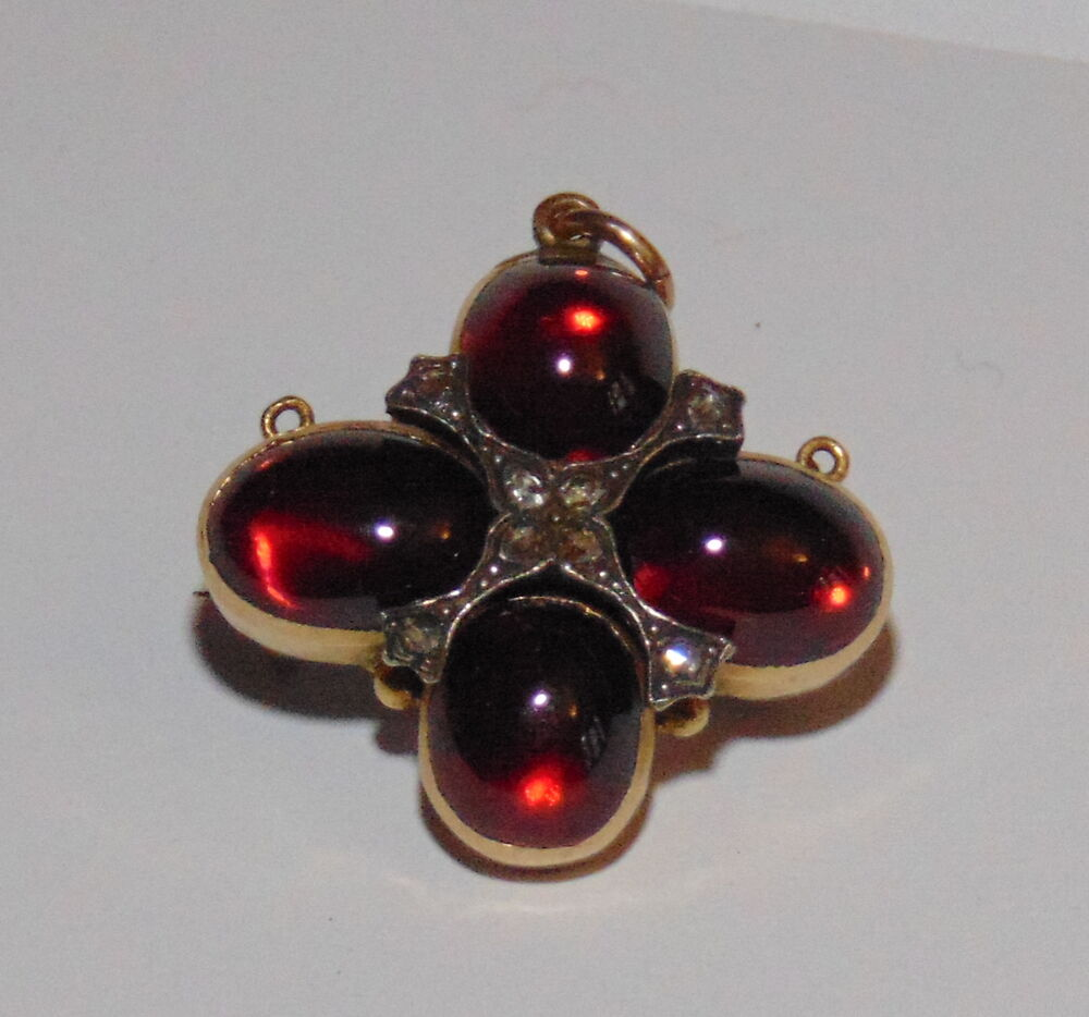 Victorian Cabochon Garnet And Diamond Pendant Brooch