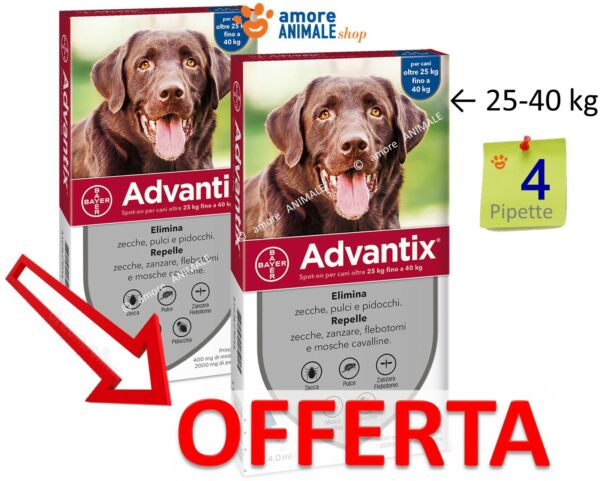 Advantix Bayer Spot-on 4 pipette per cani da 25-40 kg - Antiparassitario