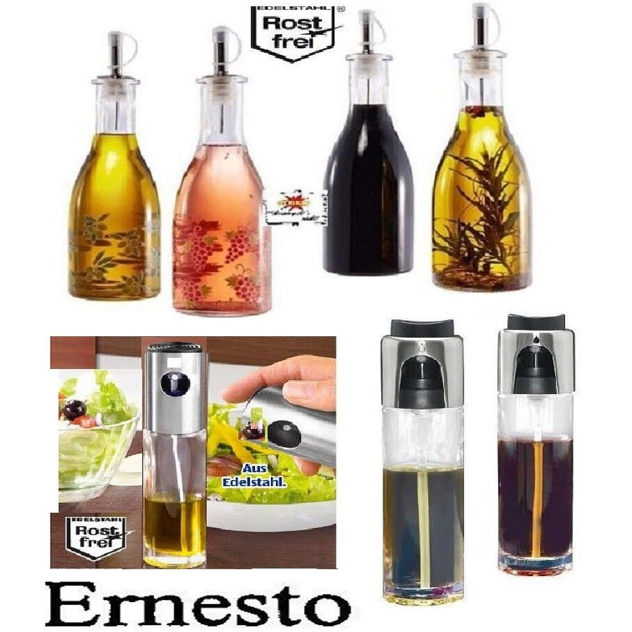 essig und lflasche edel k che flasche spender 2er set l kochen glas ernesto ebay. Black Bedroom Furniture Sets. Home Design Ideas