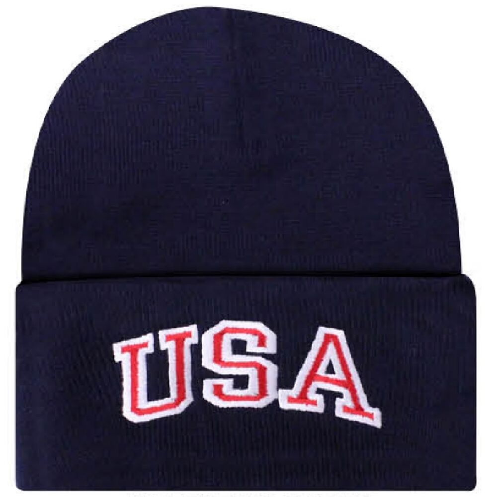 Details about Embroidered USA Black Red White Patriotic America US Watch Cap  Stocking Hat 7696579ca54