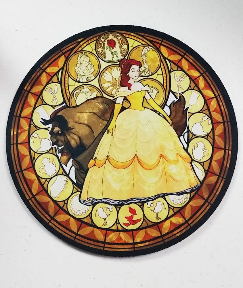 kingdom hearts beauty and the beast belle stained glass round neoprene mousepad ebay. Black Bedroom Furniture Sets. Home Design Ideas