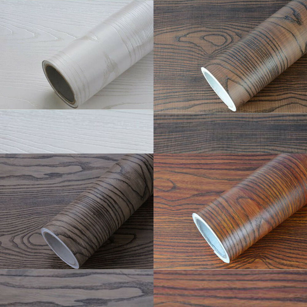 Self adhesive wood grain wallpaper sticker film desk decal for Wallpaper with adhesive backing
