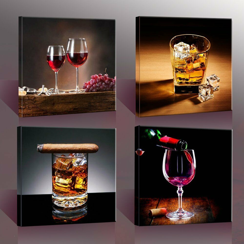 Home decor canvas wall art 4 panels canvas prints wine for Wine shop decoration