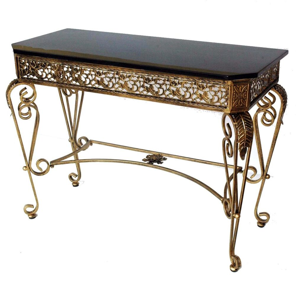 Console Tables With Picture Frames ~ Hall or console table iron frame in gold color with black