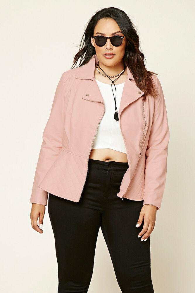 Forever 21 Plus Light Pink Faux Leather Quilted Peplum