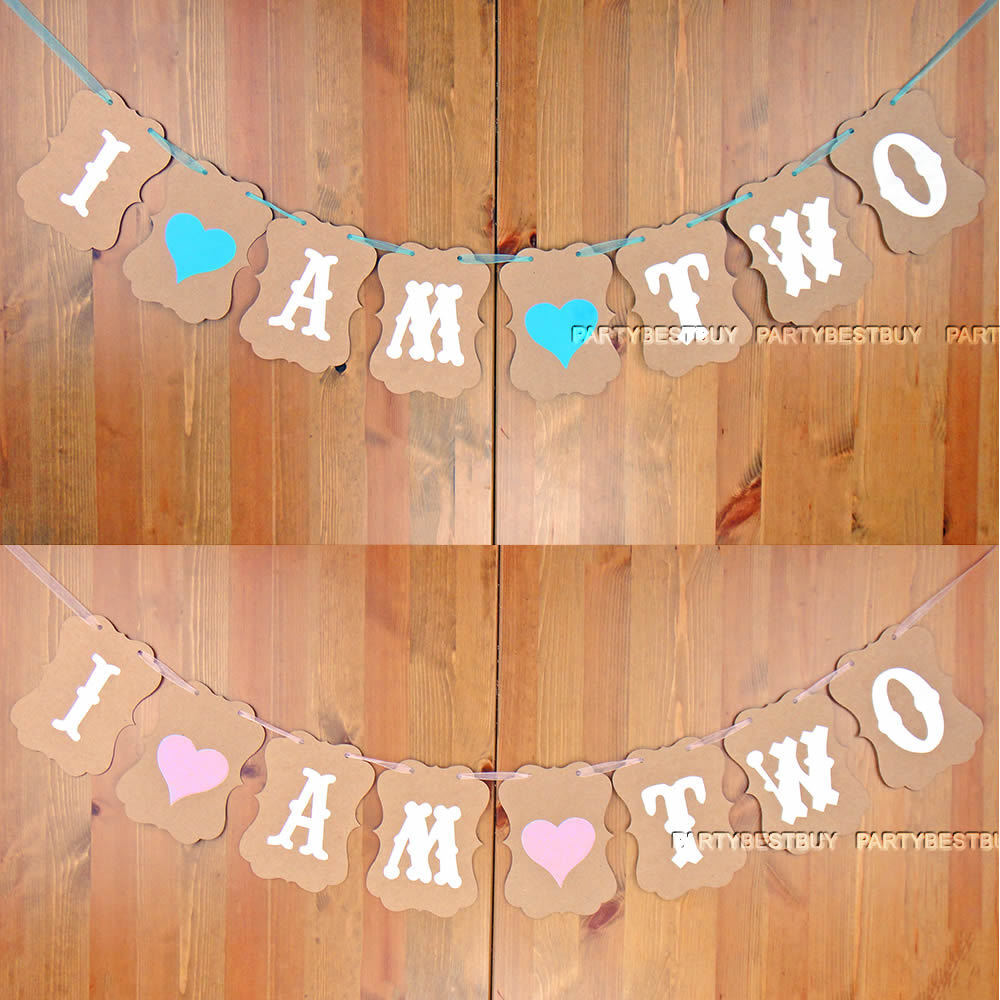 Details About I AM TWO Bunting Garland Banner Baby Girl Or Boy 2nd Birthday Party Decoration