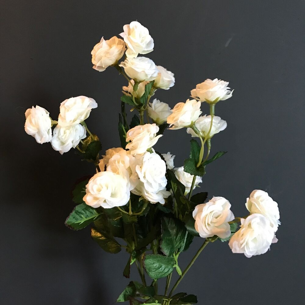 Bunch of White Artificial Mini Rose Buds Silk Flowers ...