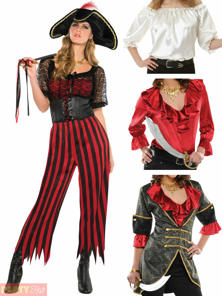 Ladies Pirate Costume Adults Caribbean Wench Fancy Dress ...