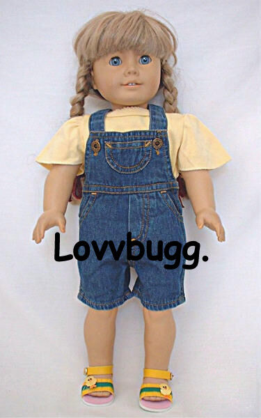 "Denim Shorts Overalls for 18"" American Girl Doll Clothes"