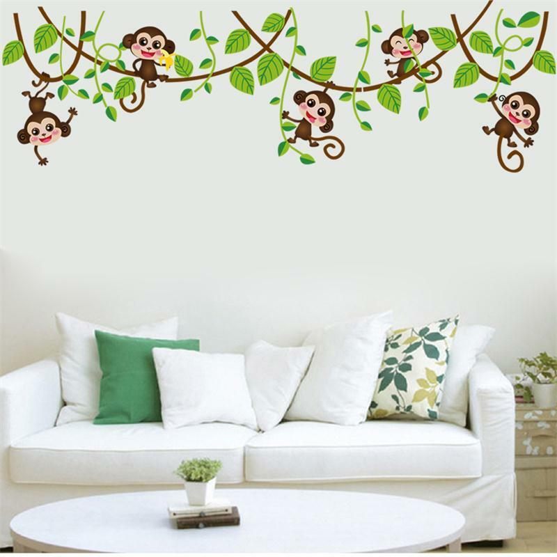 4 Cute Monkeys Wall Decals Sticker Nursery Decor Mural: Monkey Tree Birds Wall Stickers Kids Nursery Art Decal