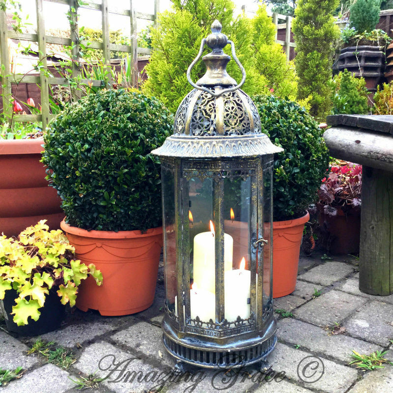 Outside Candle Holders: NEW Extra Large Metal Garden Lantern Candle Holder Antique